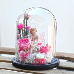 Wholsales Form-beste Geschenke konservierten Liebe des Rose konservierten Blumen-rosafarbenen Rosen-Engels in der Glasabdeckung