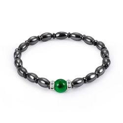 2018 Nouvelle conception de l'hématite noir opale vert cordon bracelet