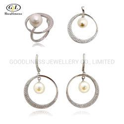 S925 Silber Schmuck Anhänger Halskette Ohrringe Ringe Süßwasser Perle Setzen