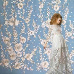 Nuevo diseño de Flor Blanca Sequin tejido bordado de encaje