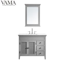 Insieme completo 708042 di vendita di Vama del pavimento del compensato di vanità grigia diritta calda poco costosa della stanza da bagno