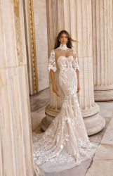 고급 Lace Satin Ballleldam 이브닝 프로름 브라이들 드레스