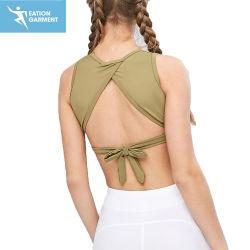 Venta caliente lazo enrollado sostén deportivo Cuello Alto desgaste Yoga Sexy