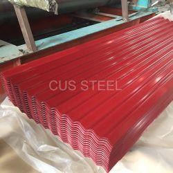 Telhas de estanho Corrugation Prepainted de folhas de metal/Ondulado régua de aço de ferro