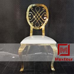 고품질의 최신 판매 금 스테인리스 가죽 식사 의자