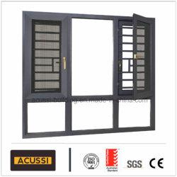 Modernes Aluminiumflügelfenster-wasserdichtes Fenster mit Gitter-Entwurfs-Fliegen-Bildschirm für Bauvorhaben