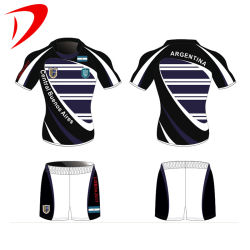 All Sublimation Outdoor Team Black and White Color Sports Fiji Goedkope Rugby voetbalkleding