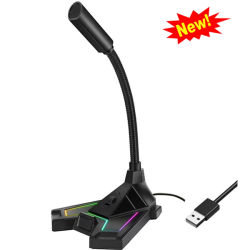 Microfono della cuffia avricolare della cuffia collegato qualità con il microfono di condensatore muto di controllo di RGB LED