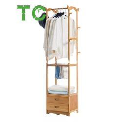 Vestuário de bambu para cabides, Porta Closet prateleira com duas gavetas Cabide Roupas Rack
