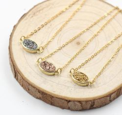 Druzzy Cheker 金端の宝石類の花嫁のギフトのネックレスを電気めっきした