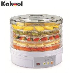 Color blanco Digital eléctrico 5 bandejas de secado de frutas alimentos de la máquina de pelo