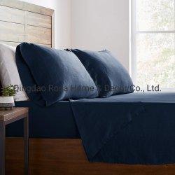 100% из камня темно-синяя чистое постельное белье наборы листов
