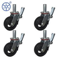 عجلات محورية من الجص الدوار من المطاط بقلب الحديد المصبوب Wbd