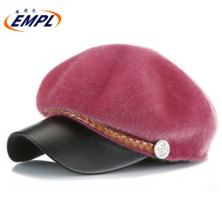 Sombrero de invierno la moda de planta octogonal Hat Beret Top Hat para damas