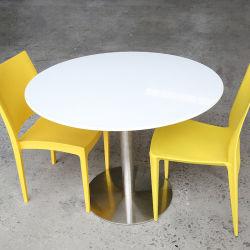 طاولة طعام مستديرة مطعم طاولة طاولة رخامية بيضاء قمة مقاومة الطقس