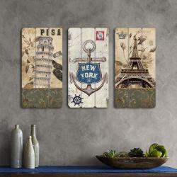 Интерьер висящих снимки из дерева в деревенском стиле декоративных произведений искусства на стене
