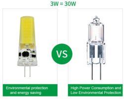 G4 3W Bombilla LED, 250lm y AC/DC 12V de la cápsula de la COB lámparas halógenas de 30W equivalente al ahorro de energía de las lámparas LED para lámpara de araña