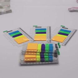 Note appiccicose di plastica trasparenti del rilievo di appunto di fluorescenza con il righello e la ricarica del PVC per i taccuini