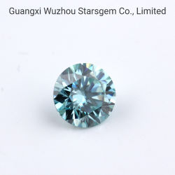 Starsgem 9mm Blue 3CT Round Corte Briliant Moissanite Gemstone Gemstone soltas