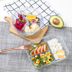 Reeks van het Diner van de Doos van de Lunch van de Container van de Opslag van het Voedsel van het Glas van de magnetron de Veilige