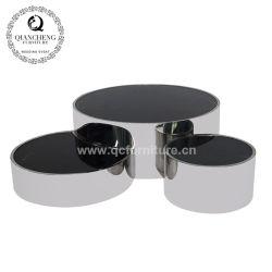 金属のコーヒーテーブルの黒のガラス上の食堂の家具の卸売の家具