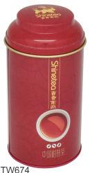 型の赤い円形の茶金属の錫ボックス、金属の円形の錫ボックスを包む小さいティーバッグ