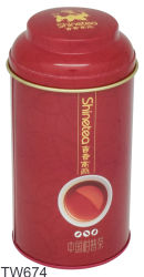 Vintage de Té Redonda Roja Caja de estaño metálico, las pequeñas bolsitas de té Caja de Lata Redonda de metal embalajes