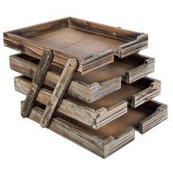 4-Tier в бедственном положении коричневого дерева документа для настольных ПК организатор бумаги съемные и расширяемый стек лотков для бумаги