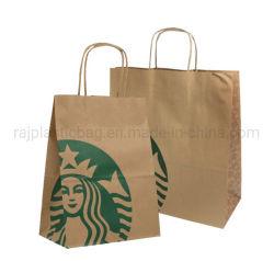 Poignée Torsadée automatique personnalisé de gros Die Cut Stock magasin de vêtements bon marché Kraft Shopping emporter l'emballage alimentaire Emballage de cadeau en papier brun super sacs de marché