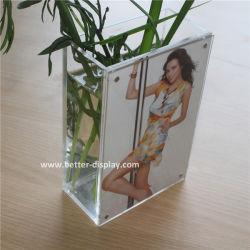 De duidelijke Vierkante AcrylVaas van het Kristal met het Frame van de Foto (btr-Q9029)