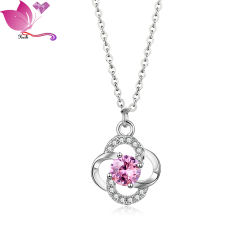 Hlksn00183 Simple Lady O Chain Mosaic Pink Zircon Lady Four-Leaf Clover Trend 목걸이