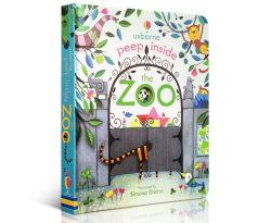 Usborne Peep à l'intérieur du zoo Animal Volet éducatif en anglais Livres d'images 3D enfants de la lecture du Livre de bébé