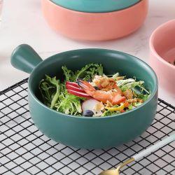 Печь безопасной фарфора выпекайте продовольственный темно-зеленую ручку форма для выпечки чаша для салата