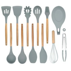 Servindo Esparguete espátula colher de cozinha de Silicone Pega de madeira utensílio de cozinha