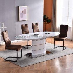 북유럽 스타일의 저렴한 가격 MDF Top Panel Tables와 Velvet 의자 식당 객실 가구 테이블 세트 뜨거운 세일 MDF + 유리 탑 식탁