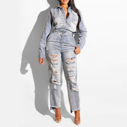 Enim Ripado Fashion Mulheres Botão Jumpsuit calças jeans