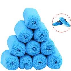 100 PCS tecido Non-Woven calçados descartáveis abrange a faixa elástica respirável antiderrapagem à prova de protecções para sapatos de protecção do piso carpete interior azul PE PP CPE