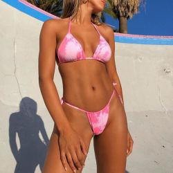 La stampa femminile della rappresentazione del costume da bagno a due pezzi Legare-Ha tinto il colore solido tinto tintura calda del legame della cinghia del Beachwear del bikini