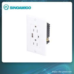 2.1 amperios Cargador USB de alta velocidad, 2 puertos USB, salida de receptáculo, placa de pared incluido con el tornillo, Blanco, ETL enumerados toma USB