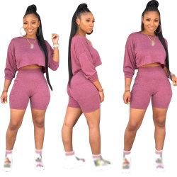 Custom de la mujer de cultivos de verano de la parte superior y los pantalones cortos de dos piezas establece