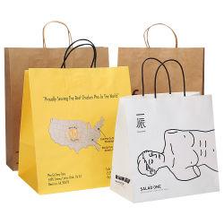 حقيبة ورق بنية اللون مع مقبض كبير جميل قابل لإعادة التدوير