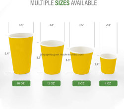 Eco-friendly monouso Full Printing Color 4 Oz da 260 ml Tazze di carta da caffè personalizzate da 16 ml con tettarella a doppia parete per il riscaldamento Acqua potabile