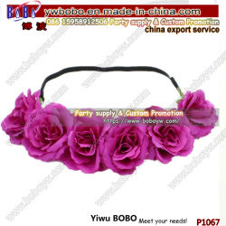 Fábrica de Bobo de la corona de flores de tela personalizadas elegante gran diadema de flores para la Fiesta de cumpleaños de alimentación (P1067)