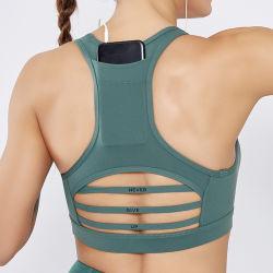 女性のスポーツのブラの背部電話ポケット耐震性の網のステッチのスポーツの下着のヨガのスーツ
