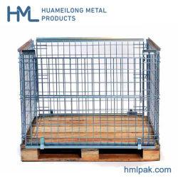 Metal dobrável de malha de gaiola de paletes Lattice caixas com palete de madeira