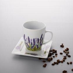 Kundenspezifische Abziehbildhandgemachte keramische Cup und Saucers