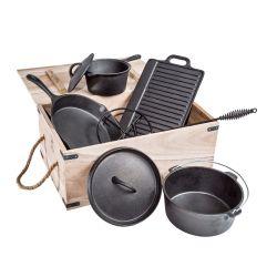 7 pièces en fonte avec une batterie de cuisine Set Camping Pot Boîte en bois