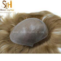 Custom светло-русые волосы Европы количество впрыскиваемого топлива тонкие волосы Toupee Toupee кожи в области прав