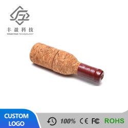 De promotie Aandrijving van de Flits USB van de Fles van de Rode Wijn van de Prijs van de Gift Bulk Houten