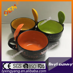 Deux tons de couleur émaillée avec une cuillère soupe gaufré mug